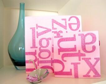 Alphabet -- Pink Canvas Set -- Baby Girl Nursery