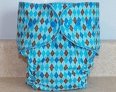 Fitted Large Cloth Diaper- 20 to 30 pounds- Blue Argyle