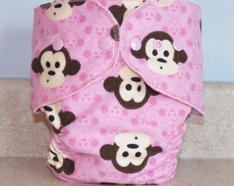 Fitted Large Cloth Diaper- 20 to 30 pounds- Pink Monkeys