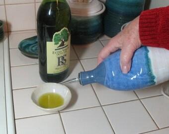 Free Shipping - Olive Oil Bottle - Cruet -Glazed In Our Ocean Breeze Pattern