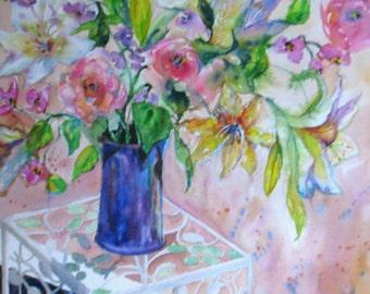 large impressionism flower art, original watercolor painting, romantic Victorian floral still life, roses, lily art, Janice Trane Jones