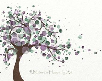 Natures Beauty Tree Art Print 5 x 7, Purple Home Decor, Green Tree Inspired Art, Wind Blowing (51)