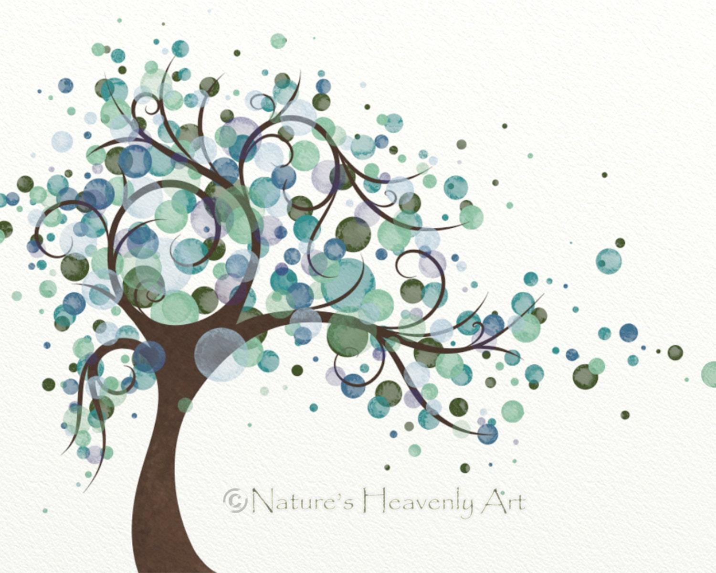Green Blue Polka Dot Tree Wall Art Print 8 X 10 Wind Blowing
