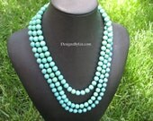 The Pixie, long or short chalk turquoise beaded necklace, available in other colors