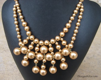 Bib of Pearls, gold statement necklace, other colors available