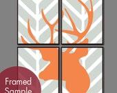 Deer Head Chevron Series C - Set of 4 - Art Prints (Featured in Silver Cloud and Orange Peel) Vintage Modern Decor