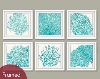 Underwater Sea Coral Collection (Series D) -Set of 6 - Square Prints - Featured in Soft Cream and Ocean Blue