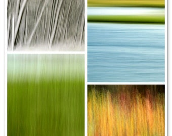 Clash of the Seasons Combo Pack, Nature Abstracts, 11X14 Mats, Fine Art  Photography, Ready to Frame, Modern Wall Art