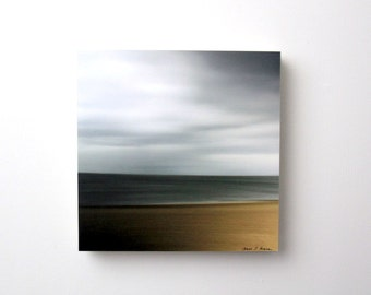 Beach Abstract,  Water, Sand, Sky,  Brown and Grey,Nature, Seascape, 10X10 Wood Panel, Fine Art Photography, Ready to Hang, Wall Art