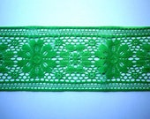 Vintage Apple Green Lace Trim