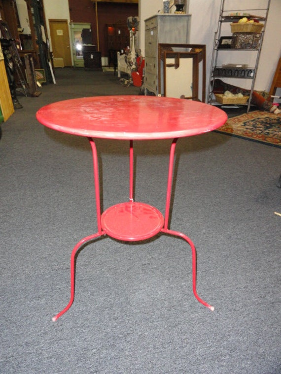 Vintage Bistro Table Metal Round Side End Table Mid Century
