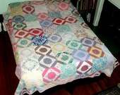 "VINTAGE QUILT 87"" x 72"" hand sewn, double bed, handmade patchwork,flowers, geometric, burgundy, pink,red,blue,tan,green,circles"