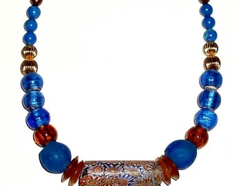 "AFRICAN TRADE BEAD 20"" necklace,antique Venetian millefiori,Ghana glass,vintage glass,royal blue,sky blue,gold,bronze,apricot,"