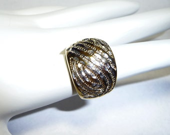 Sterling Silver and Gold Diamond Cut Dome Ring on Etsy