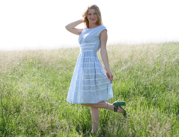 Vintage 50s 60s Blue GINGHAM Dress M Country Girl