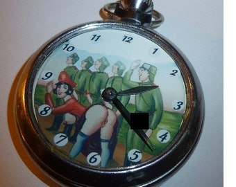 A Vintage EROTIC animated automaton Vintage Pocket Watch soldiers...Mature