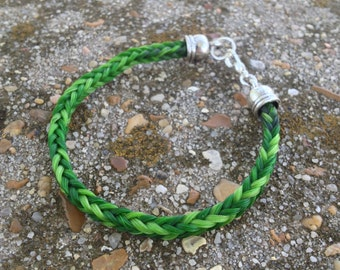Green Horse Hair Braided Horsehair Bracelet - 7.5 IN - 6MM Square Braid