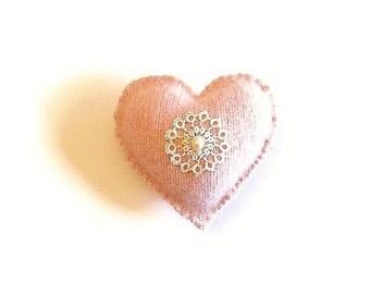 Heart gift holder pocket pink  tatting applique