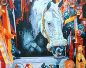 Horse Show Jumper Snowman Racing art limited edition print small giclee' signed