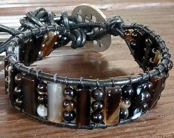 Black Agate Cuff Bracelet - Black Leather Bracelet, Black Agate Beads