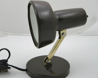 Reading Light WALL mount or desktop  Small Brown Metal Lamp reading in bed Homework light