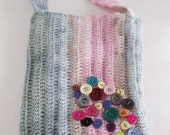 Blue Pink Crochet Bag With Button-Ready For Shipping