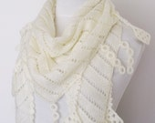 Ivory  Mohair Scarf Shawl -Lace Edge-Ready for shipping