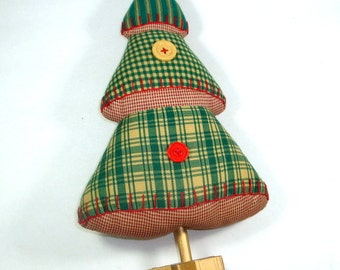 Primitive Standing Christmas Tree, Handcrafted Holiday Decor, Decoration, Fabric, Star Base, Buttons, Stuffed   (222-13)