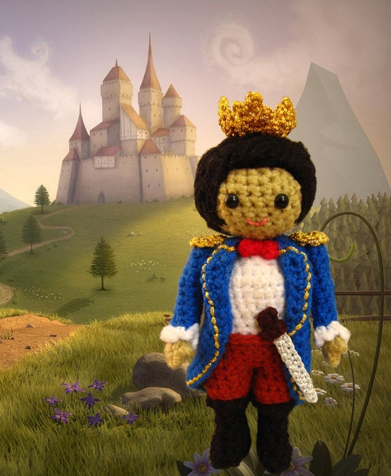 Crochet amigurumi prince pattern PDF childrens softie toy handmade boy doll plush DIY tutorial