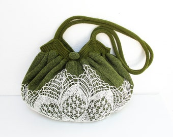 Good Old Times Vintage Doily, Knit fabric and crochetted Bag
