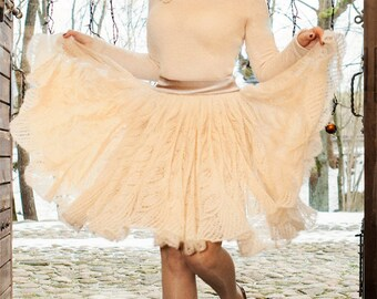 Dress knitted from mohair with flowers application ( free shipping)