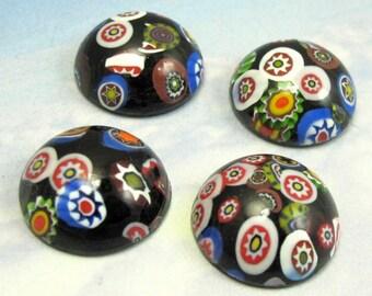 Vintage Glass Cabochons 4 pcs 18 mm Black Millefiori Stones S-360
