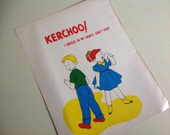 1960s Vintage School Mini Health Poster. Kerchoo. I Sneeze in My Hanky.