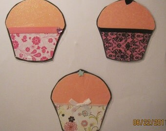 Pink Chipboard Cupcake Magnets Set of 3