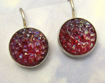Red Vintage Glass Sugar Stone Earrings set in Sterling Silver 377