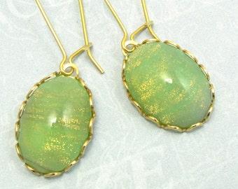 Green Gold Hoop Earring Vintage Glass Drop Earrings iridescent Celadon art deco earrings
