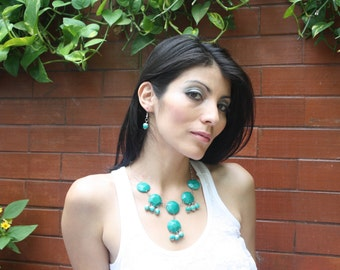 Faceted tagua nut necklace aqua, saphire or emerald tagua jewelry by Allie
