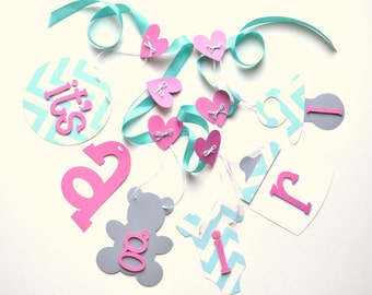 Pink blue and grey baby shower decorations chevron it's a girl banner by ParkersPrints on Etsy