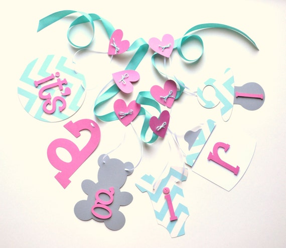 pink blue and grey baby shower decorations chevron it 39 s a girl banner