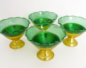 Set of 4 Vintage Forest Green Sherbet Dishes with Gold Base