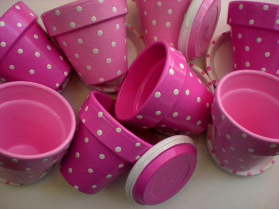 Polka Dot Flower Pots - Set of 20 - 3.5 Inch - Painted Flower Pots - Kids Party Favors