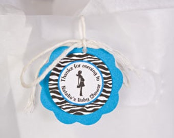 Baby Shower Favor Tags - Pregnant Mom Theme Baby Shower Decorations in Aqua Blue & Black Zebra (12)