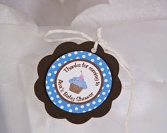 Lil Cupcake FAVOR TAGS - Cupcake Theme Baby Shower Decorations in Blue and Brown (12)