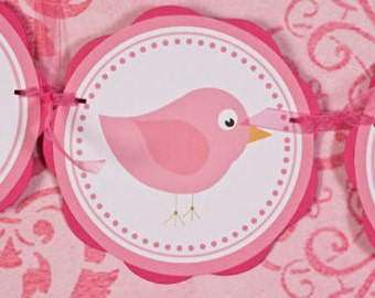 Birdie IT'S A GIRL Baby Shower Banner - Bird Theme Baby Shower Decorations in Light & Hot Pink