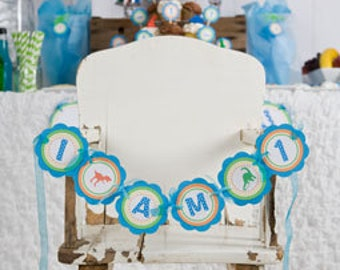 Dinosaur Themed First Birthday Banner -  I AM 1 MINI BANNER - Little Dino 1st Birthday Party Decorations