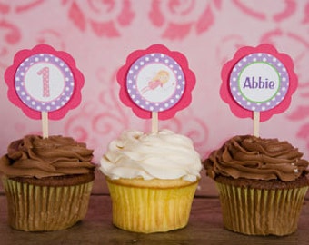 Fairy Theme Cupcake Toppers - Fairy Happy Birthday Party Decorations - Girl Birthday Cupcake Toppers