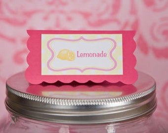 Pink Lemonade Theme Menu Cards - Food Tents -  Table Place Cards - Food Signs - Birthday Party Decorations in Yellow & Pink (6)
