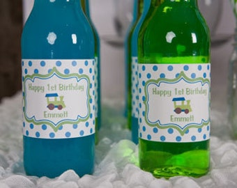 Train Themed Water Bottle Labels - Train Birthday Party Decorations in Aqua Blue and Green (12)