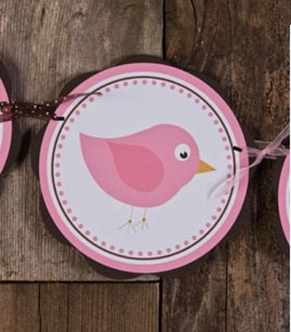 Pink and Brown Baby Shower Banner - Birdie Themed ITS A GIRL Baby Shower Decorations Party Sign