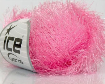 Metallic Eyelash Lurex LIGHT PINK ice yarns 1 skein 50gr sparkly novelty fancy bukly shimmering Fun fur  etsy  shipping at USPS cost 18622